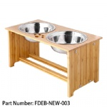 FOREYY Raised Pet bowls for Medium and Large Dogs, Bamboo Elevated Dog Cat Food and Water Bowls Stand Feeder with 2 Stainless Steel Bowls and Anti Slip Feet (New 10'' Tall)